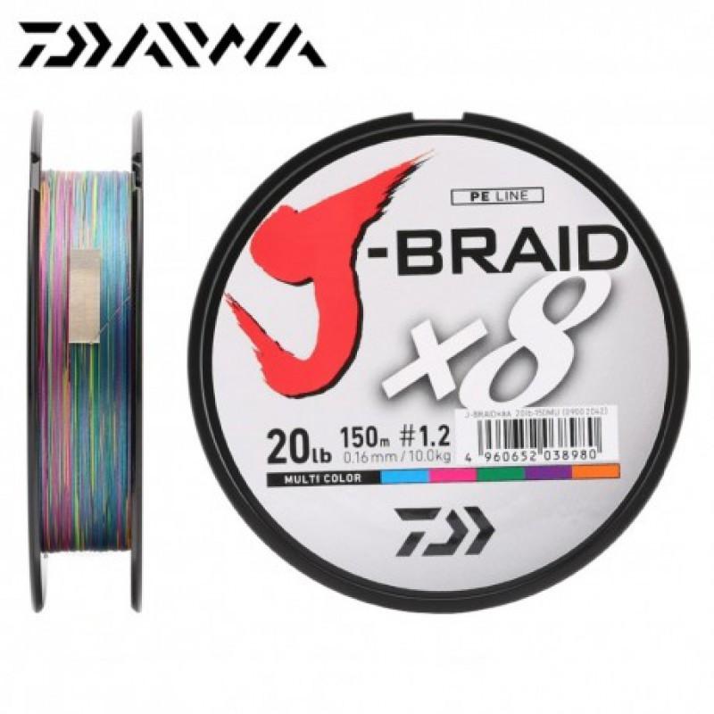 Daiwa J-Braid 8 Braid 0.06mm 150m multicolour geflochtene Angelschnur